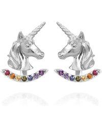 Jana Reinhardt Jewellery - Sterling Silver Unicorn Earrings With Rainbow Ear Jackets - Lyst