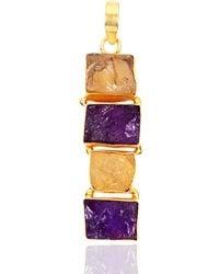 Bhagat Jewels 18kt Yellow Gold Plated Amethyst & Citrine Pendant