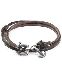 Anchor & Crew - Dark Brown Clyde Silver And Leather Bracelet - Lyst