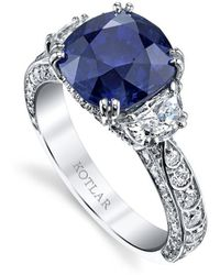Harry Kotlar - Cushion Cut Sapphire Scallop Artisan Pave Ring - Lyst