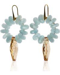Earth's Tears by Elena Kontorousi 24kt Gold Plated Aquamarine & Swarovski Crystals Hoop Earrings - Blue