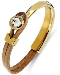 Yan Neo London Poppy Tan & Gold Leather Bracelet - Multicolour