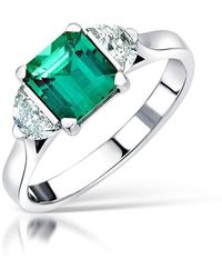 Clearwater Diamonds One Of A Kind Emerald And Diamond Ring - Multicolor