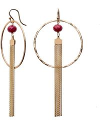 Nadean Designs - Ruby Tassel Hoop Earrings - Lyst
