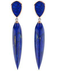 MARCELLO RICCIO - Gold, Diamond & Lapis Lazuli Earrings - Lyst