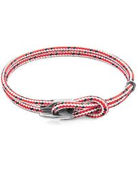Anchor & Crew - Red Dash Padstow Silver And Rope Bracelet - Lyst