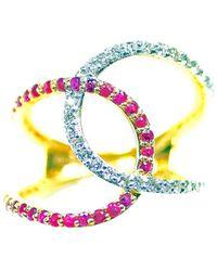 ERAYA - 14kt Yellow Gold Ruby & Diamond Twisted Statement Ring - Lyst