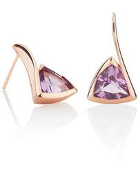 MANJA Jewellery Amore Rose Gold Amethyst Earrings - Multicolor