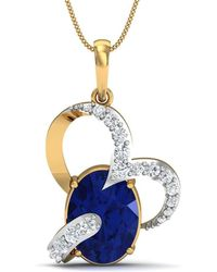 Diamoire Jewels Oval Shape Emerald and Diamond Pendant in 10kt Yellow Gold az8mHhyh
