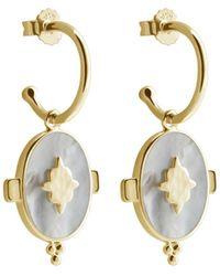 Murkani Jewellery Gold Oval Earrings With Mother Of Pearl - Metallic