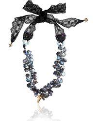 Earth's Tears by Elena Kontorousi Lace & Keshi Pearls Necklace - Grey