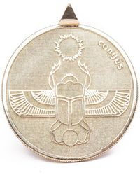 Congés Gold Scarab Two Sided Coin Necklace - Metallic