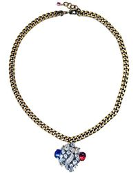 FUCHSIA by Izumi Tahara - Czech Button Layered Rhinestone Pendant Necklace - Lyst