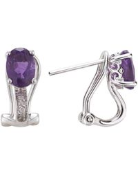 Lali Jewels - 14kt White Gold Diamond And Amethyst Earring - February Birthstone - Lyst