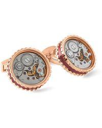Tateossian - Rose Gold & Burgundy Round Skeleton Gear Cufflinks | - Lyst