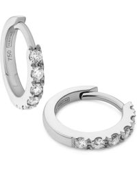 Verifine London 18kt White Gold & Diamond Huggie Earrings - Metallic