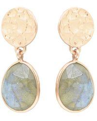 Noyre Berlin Rose Gold Plated Hammered Coin Labradorite Earrings - Metallic