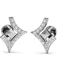 Diamoire Jewels Round And Princess Cut Earrings in 10Kt White Gold J2I32UkosW
