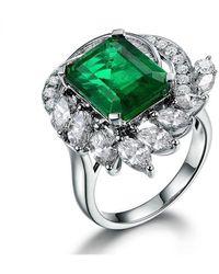SILVER YULAN Square Cut Emerald Diamond Accent R - Green