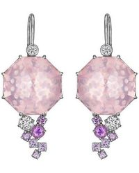 Madstone Design - Rose Quartz Bubble Ice Earrings - Lyst