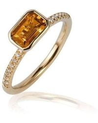 Goshwara - Gossip Citrine Emerald Cut Stackable Rings With Diamonds - Lyst