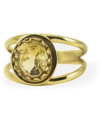 Vintouch Italy Yellow Gold Plated Silver Luccichio Citrine Dual Ring - Metallic