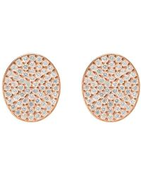 LÁTELITA London - Rose Gold Plated Sparkling Oval Disc Earrings - Lyst