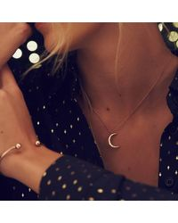 Posh Totty Designs Personalised Moon Necklace Yellow Plated - Multicolour