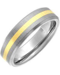 Star Wedding Rings Titanium And 9kt Yellow Gold Inlay Flat Court Shape Matt Ring - Black