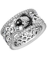 Chekotin Jewellery White Gold & Diamond Water Element Fish Ring   - Multicolour