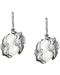 Joseph Lamsin Jewellery - Cornish Seawater Cast Sterling Silver Encased Handmade Oval Pearl Earrings - Lyst