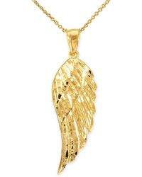 QP Jewellers - Precision Cut Angel Wing Pendant Necklace In 9kt Gold - Lyst