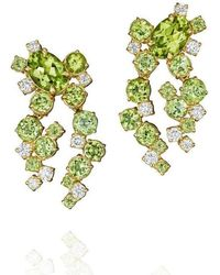 Madstone Design - Amelting Ice Peridot And Diamond Earrings - Lyst