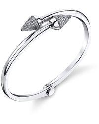 Borgioni Small Spike Handcuff In White Gold And Pave Diamonds - Metallic