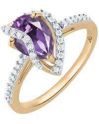 Arya Esha - Gold, Amethyst & Diamond Veela Ring   - Lyst