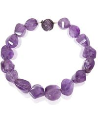 Mara Hotung Amethyst & Purple Bead Necklace 18kt Black Gold