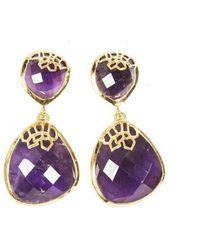 Neola Honeycomb Gold Drop Earrings - Metallic