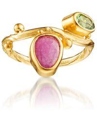 Bergsoe Yellow Gold Seafire Ring With Ruby & Tsavorite  