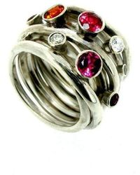 Will Bishop - Sterling Silver Coiled Gemstone Ring - Lyst