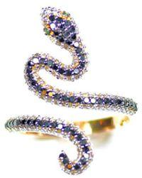 ERAYA 18kt Rose Gold Diamond Snake Ring - Metallic