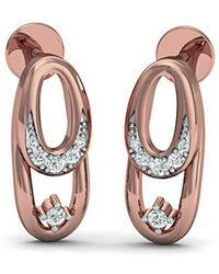 Diamoire Jewels 18kt Yellow Gold 0.34ct Pave Diamond Infinity Earrings I QgBI9
