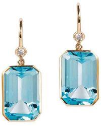 Goshwara - Gossip Blue Topaz Emerald Cut Earrings - Lyst