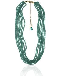 Earth's Tears by Elena Kontorousi Gold Plated Silver Cats Eye & Swarovski Crystal Necklace - Green