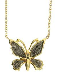 London Road Jewellery Stunning Yellow Gold Black Diamond Butterfly Pendant - Metallic
