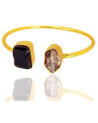Bhagat Jewels Handmade 18kt Gold Plated Raw Herkimer Diamond And Black Tourmaline Stackable Bangle - Yellow