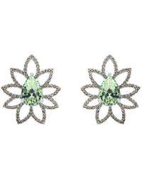 Arya Esha - Pear Shape Cut Prasiolite And Champagne Diamond Studs - Lyst