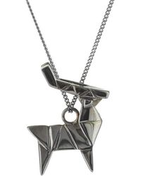 Origami Jewellery - Deer Black Silver Necklace - Lyst
