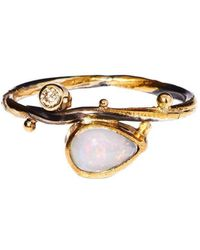 Bergsoe - Gold Seafire Ring With Champagne Diamond & Opal | - Lyst