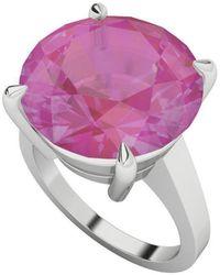 StyleRocks Round Brilliant Cut Pink Sapphire Silver Ring - Uk I - Us 4.5 - Eu 48 - Multicolor