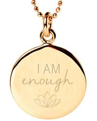 Mantra Jewellery Yellow Gold Plated I Am Enough Disc Necklace - Metallic